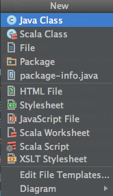 a screen capture of the new file menu in Intellij